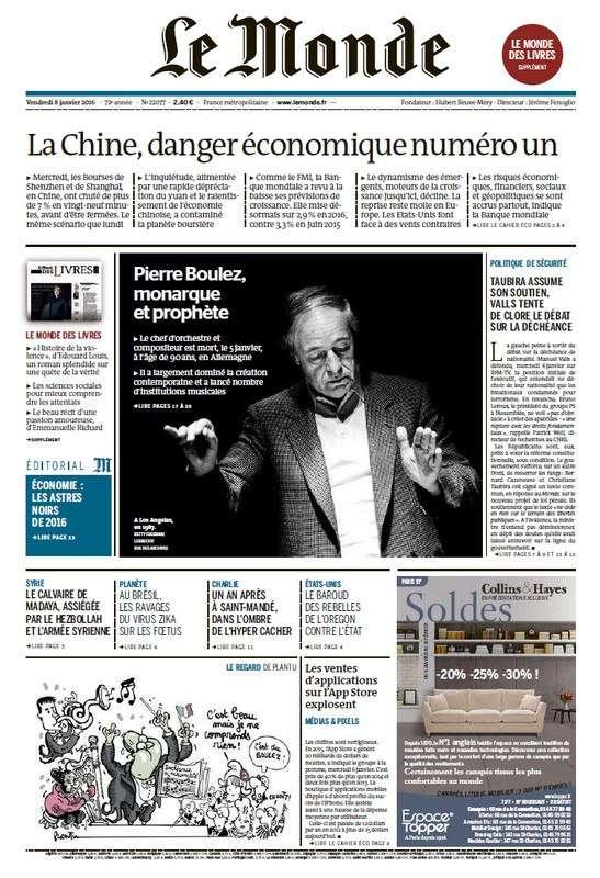 Le Monde de Vendredi 8 Janvier 2016