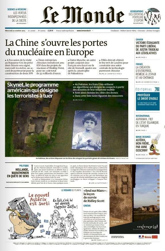 Le Monde et 3 Suppléments du Mercredi 21 Octobre 2015