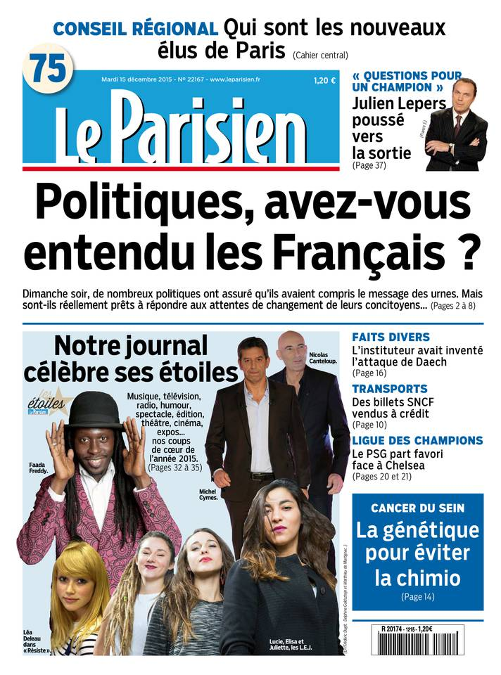 Le Parisien + Journal de Paris du Mardi 15 Décembre 2015