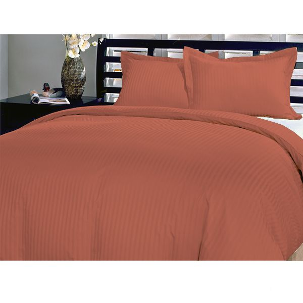 Philly Linens Luxurious 300TC Egyptian Cotton Stripe Sheet Set - Full XL , Brick Red with 23