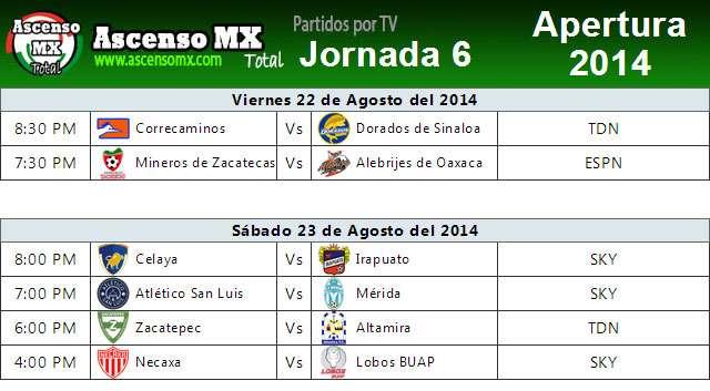 Jornada 6 por Tv en México de la Liga de Ascenso MX