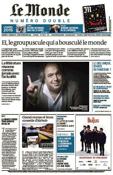 Le Monde de Samedi 26 Dimanche 27 et Lundi 28 décembre 2015