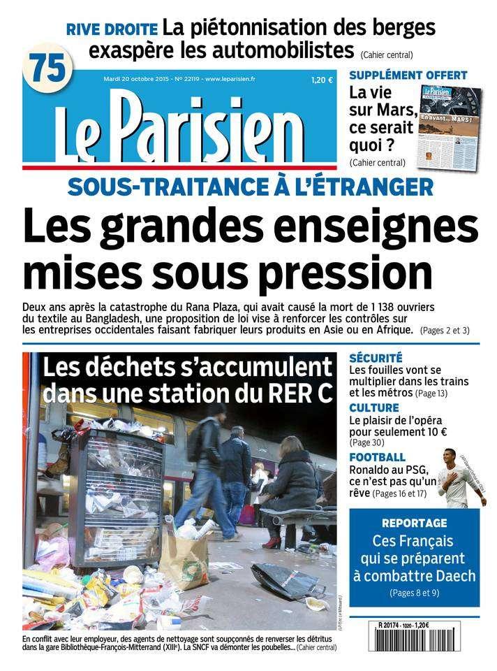 Le Parisien + Journal de Paris du Mardi 20 Octobre 2015