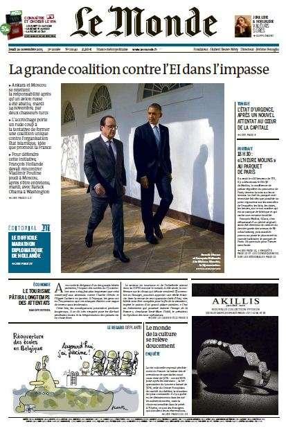 Le Monde + 2 suppléments du Jeudi 26 novembre 2015