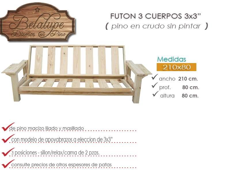 Futon 3 cuerpos 3x3 pino al natural 2342 ewluc precio d for Futon 2 plazas precio