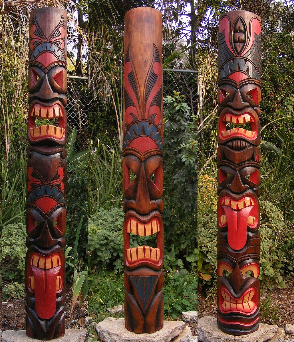"""Tribal Tiki Mask Package Deal Set of 3 x Large 60"""" Patio Tropical Bar"""