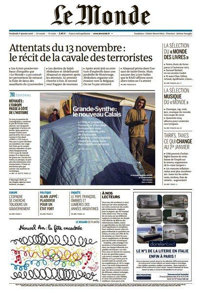 Le Monde du Vendredi 1 janvier 2016
