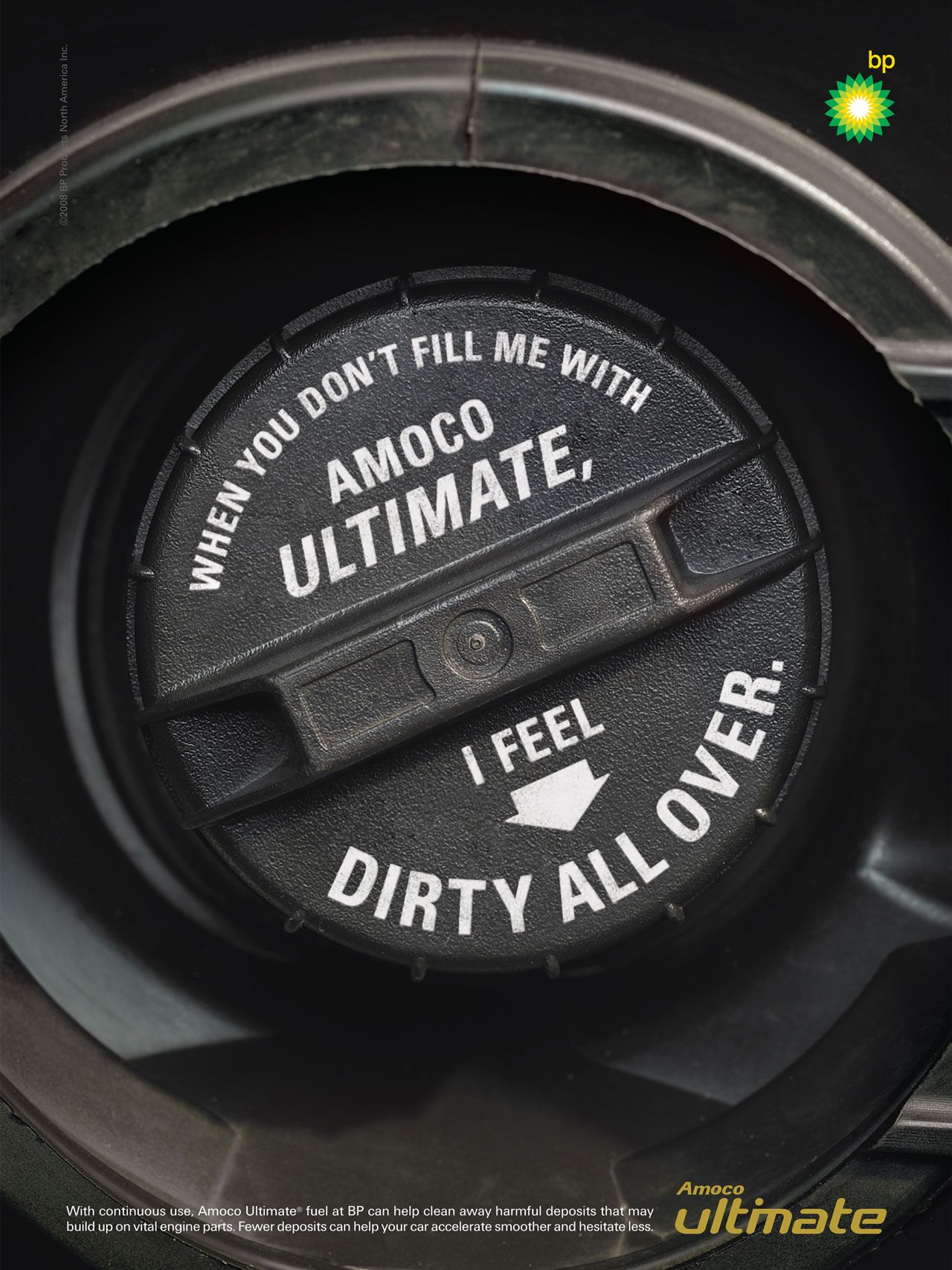 When you don't fill me with Amoco Ultimate, I feel dirty all over. With continuous use, Amoco Ultimate fuel at BP can help clean away harmful deposits that may build up on vital engine parts. Fewer deposits can help your car accelerate smoother and hesitate less.