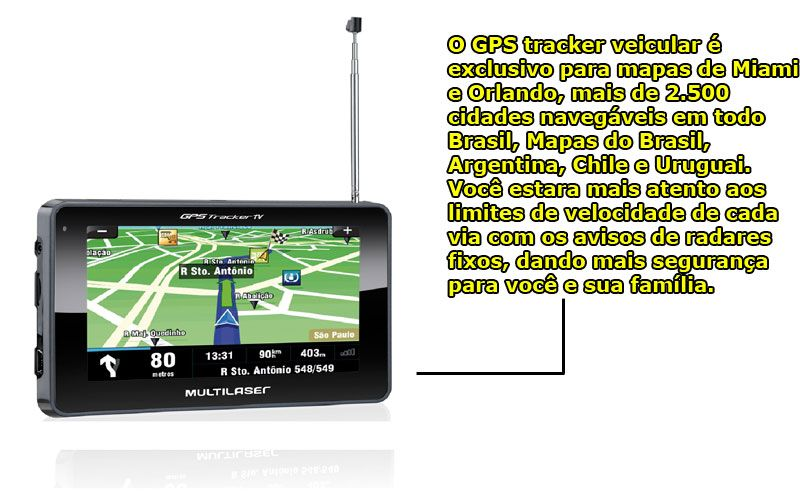 "Navegador Gps Multilaser Tracker III Tela 4.3"" Preto Tv Digital Radio Fm - Gp034"