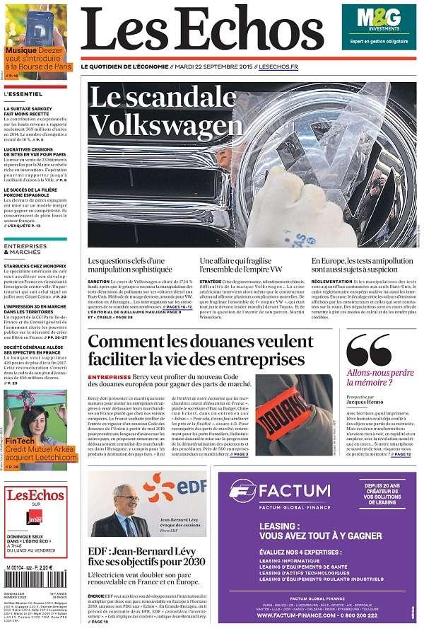 Les Echos du Lundi 12 Octobre 2015