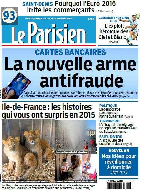 Le Parisien + Journal de Paris du Lundi 28 décembre 2015