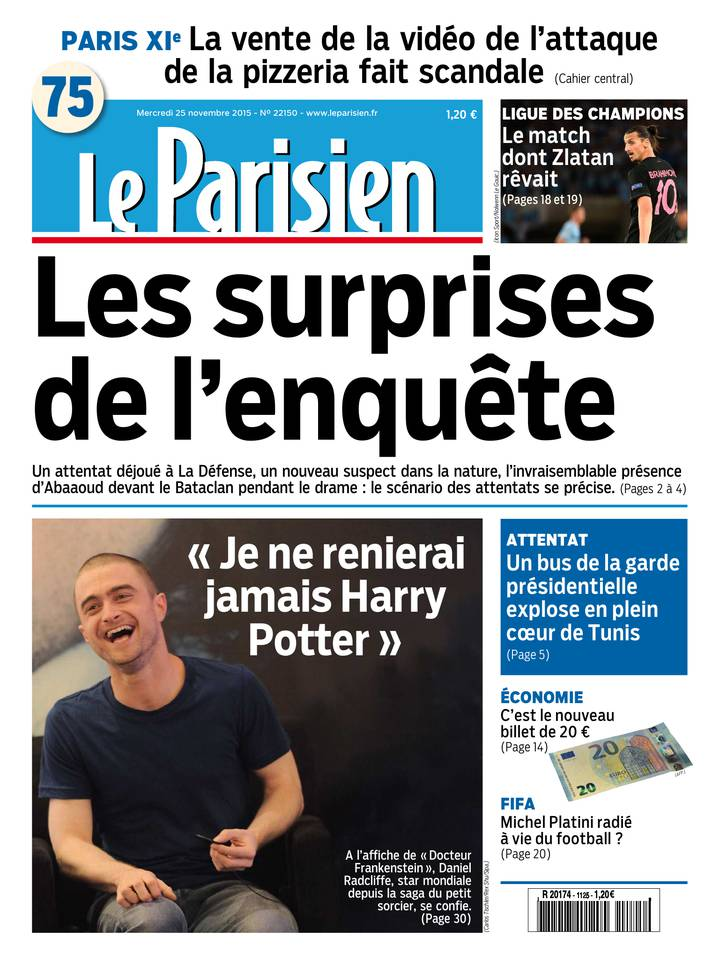 Le Parisien + Journal de Paris du Mercredi 25 Novembre 2015