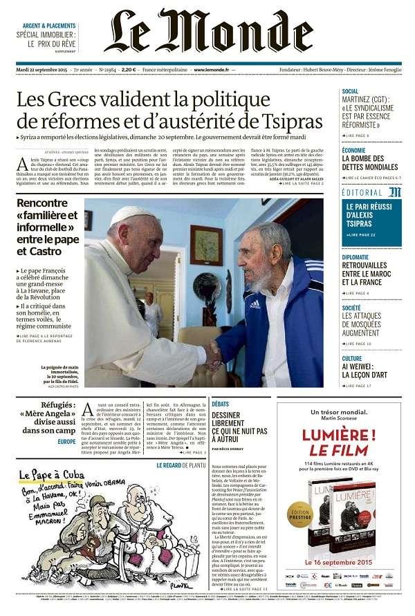 Le Monde et 2 Suppléments du Mardi 22 Septembre 2015