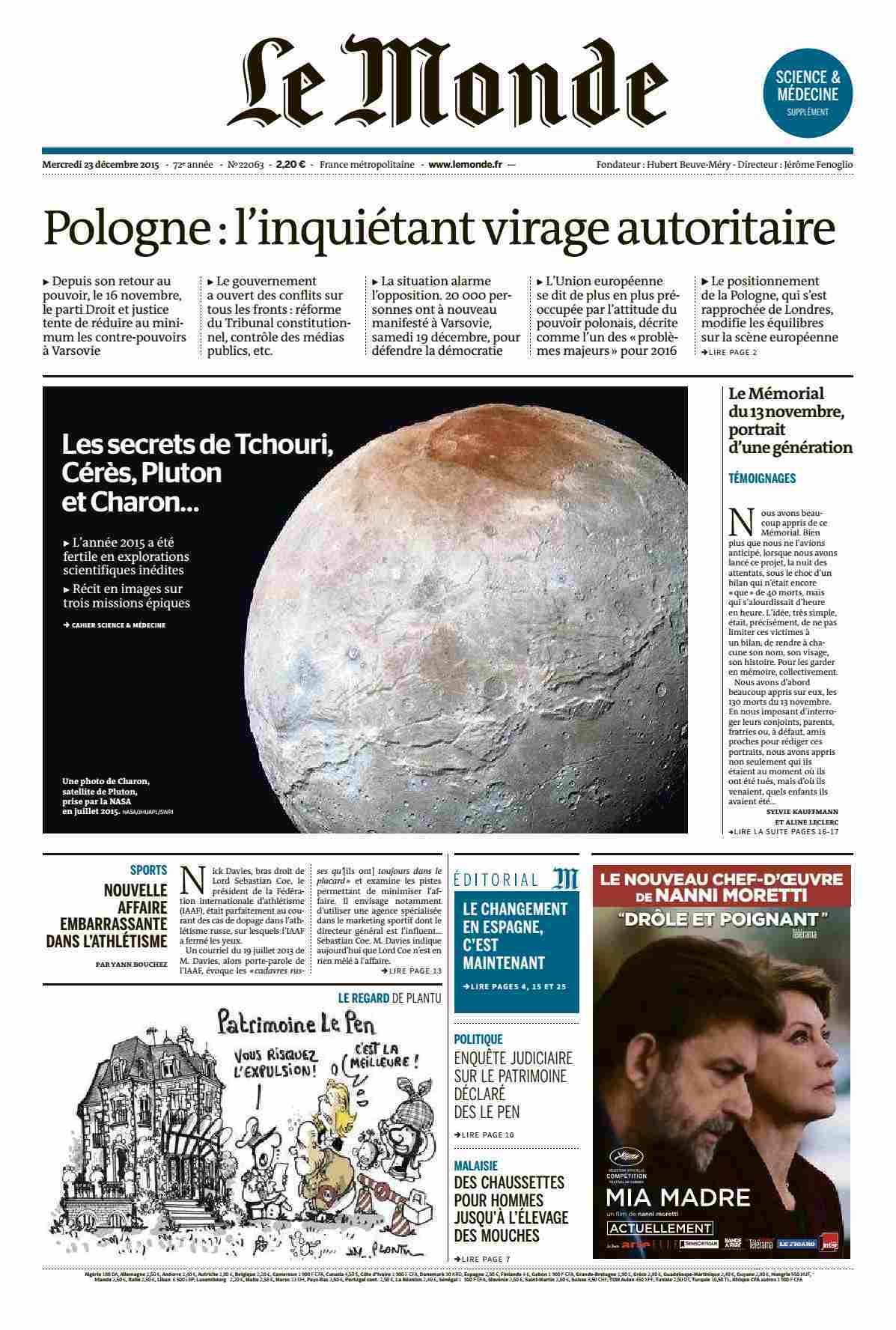 Le Monde + supplément du Mercredi 23 décembre 2015