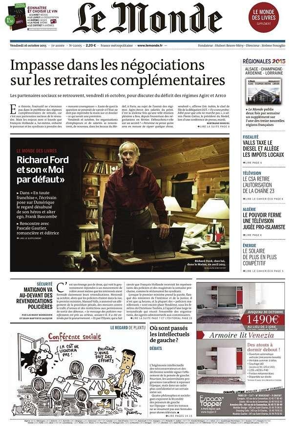 Le Monde et 3 Suppléments du Vendredi 16 Octobre 2015