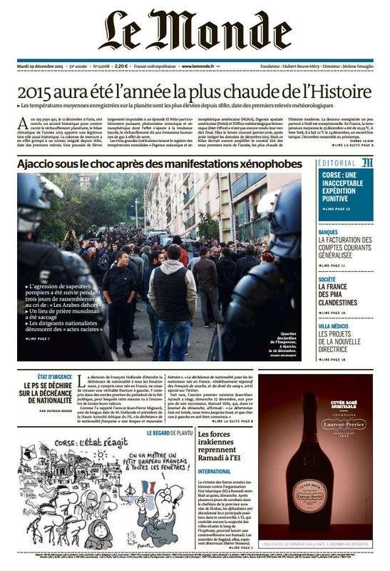 Le Monde du Mardi 29 décembre 2015