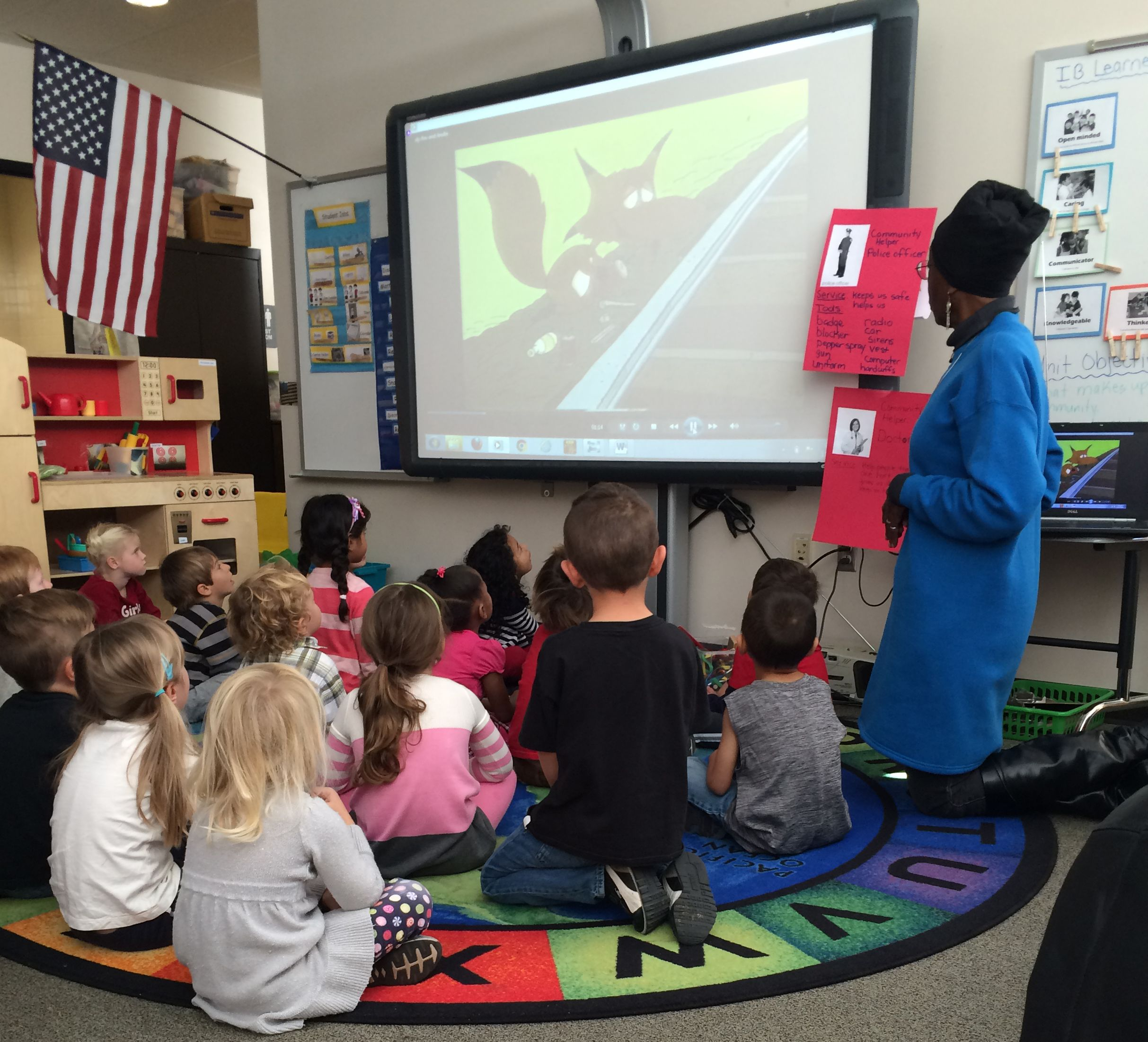 first-graders-at-Swigert-watch-safety-cartoon