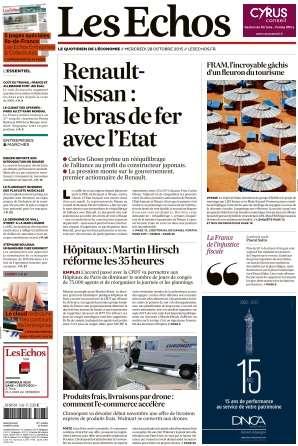 Les Echos du Mercredi 28 Octobre 2015
