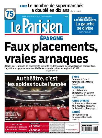 Le Parisien du Jeudi 21 Janvier 2016