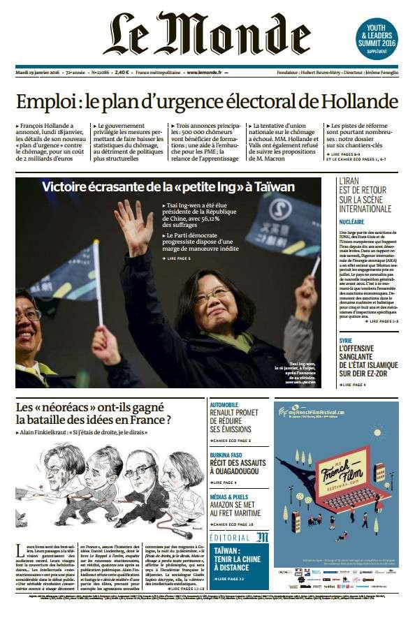 Le Monde du Mardi 19 Janvier 2016