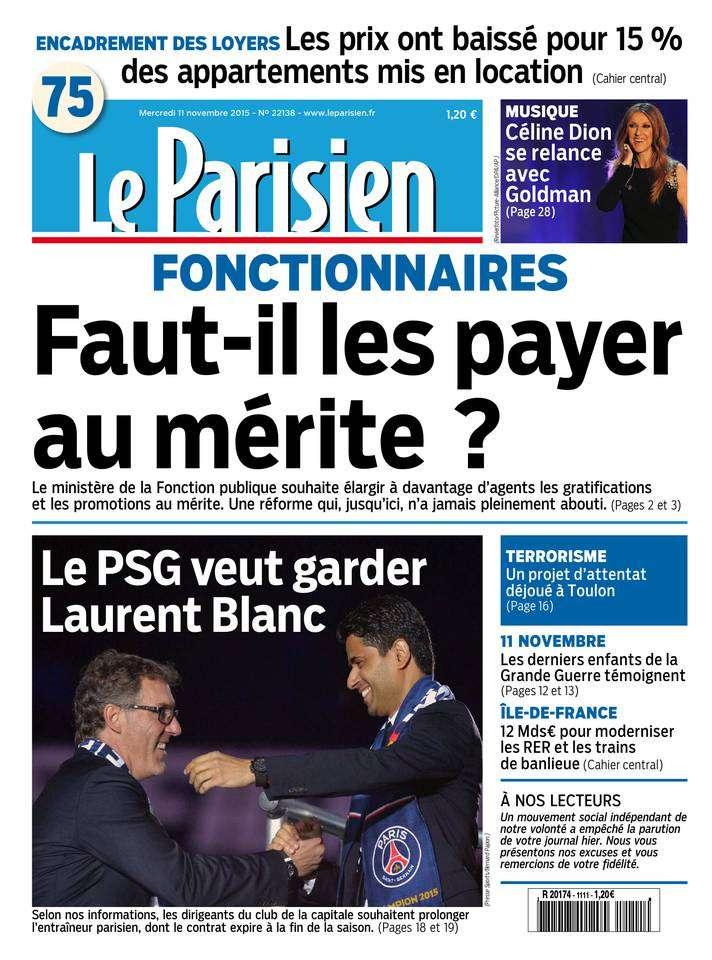 Le Parisien + Journal de Paris du Mercredi 11 Novembre 2015