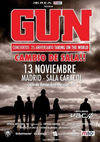 Gun en Madrid. Cartel cambio de sala