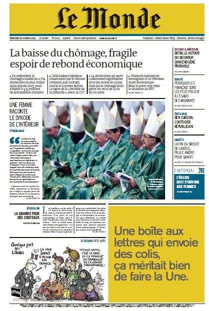 Le Monde et 2 Suppléments du Mercredi 28 Octobre 2015