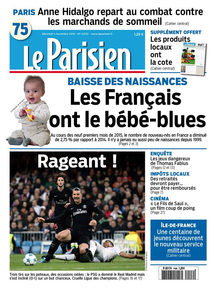 Le Parisien + Journal de Paris du Mercredi 04 Novembre 2015