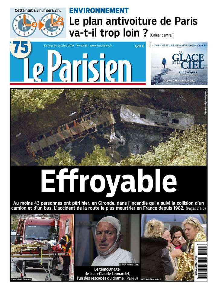 Le Parisien + Journal de Paris du samedi 24 octobre 2015