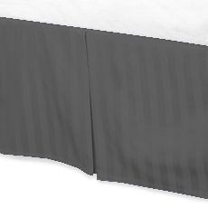Jay's Home Goods Luxurious 100% Egyptian Cotton 1PC Bed Skirt 400 Thread Count in Stripe Elephant Grey , Cal King with 24