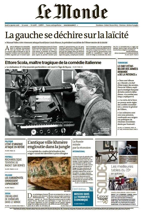 Le Monde Du Jeudi 21 Janvier 2016
