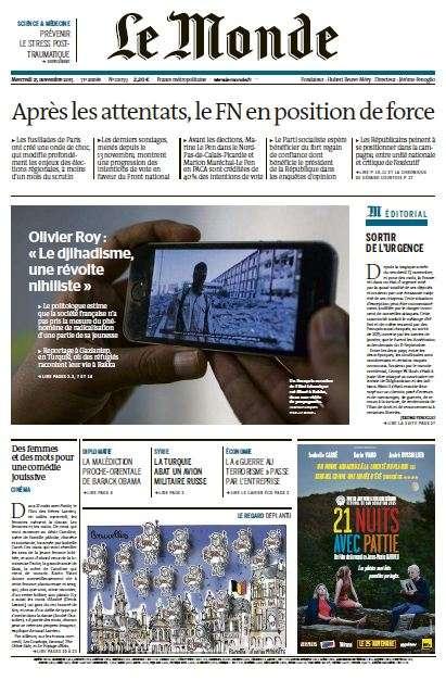 Le Monde et 2 Suppléments du Mercredi 25 Novembre 2015