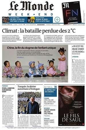 Le Monde Weekend et 3 Suppléments du Samedi 31 Octobre 2015