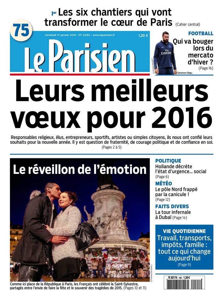 Le Parisien + Journal de Paris du Vendredi 1 Janvier 2016