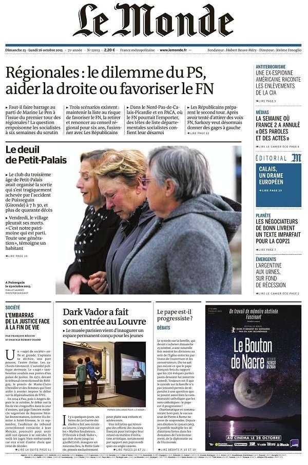 Le Monde et Supplément du Dimanche 25 et Lundi 26 Octobre 2015