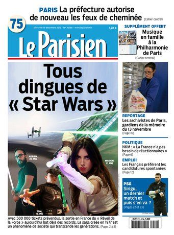 Le Parisien + Journal de Paris du Mercredi 16 Décembre 2015