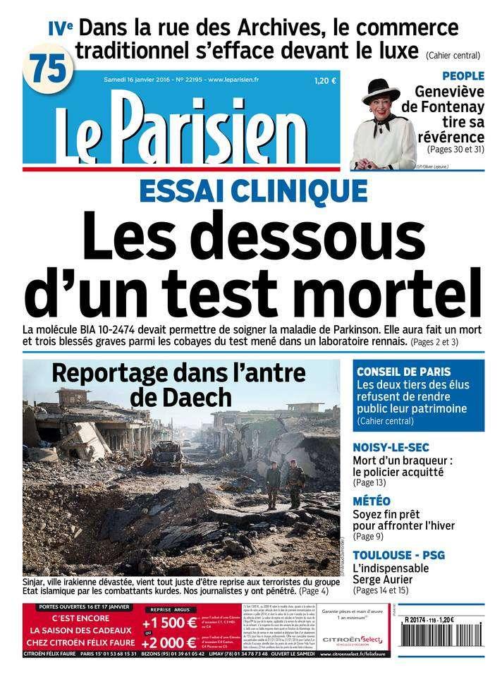 Le Parisien + Journal de Paris du Samedi 16 Janvier 2016