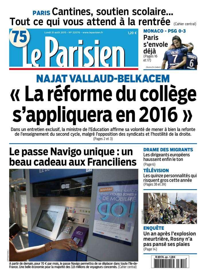 Le Parisien + Journal de Paris du Lundi 31 Août 2015