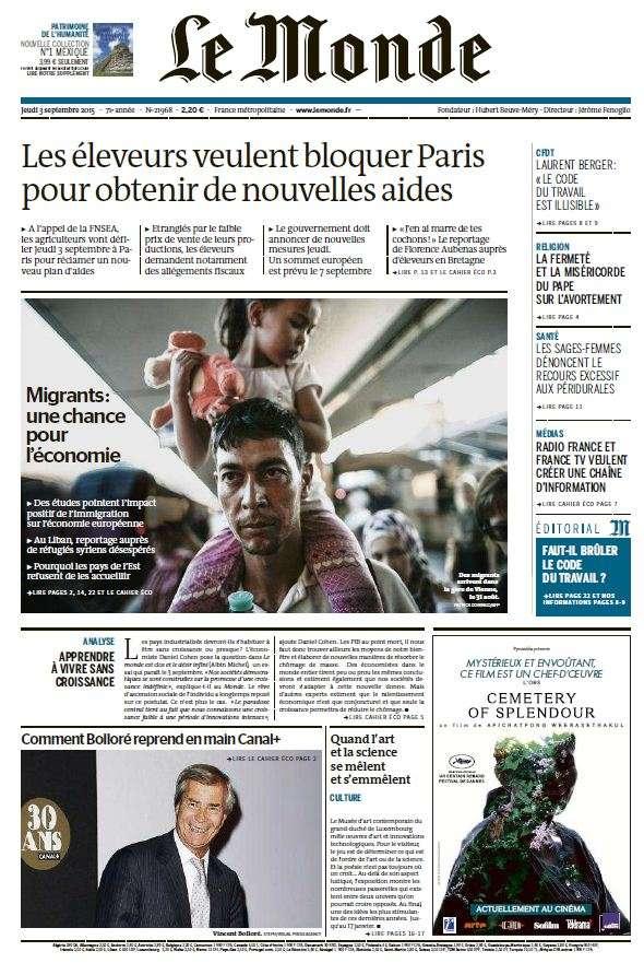 Le Monde du Jeudi 3 Septembre 2015