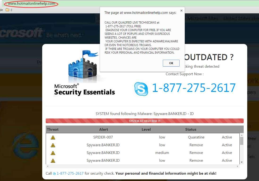 Verwijder Hotmailonlinehelp.com