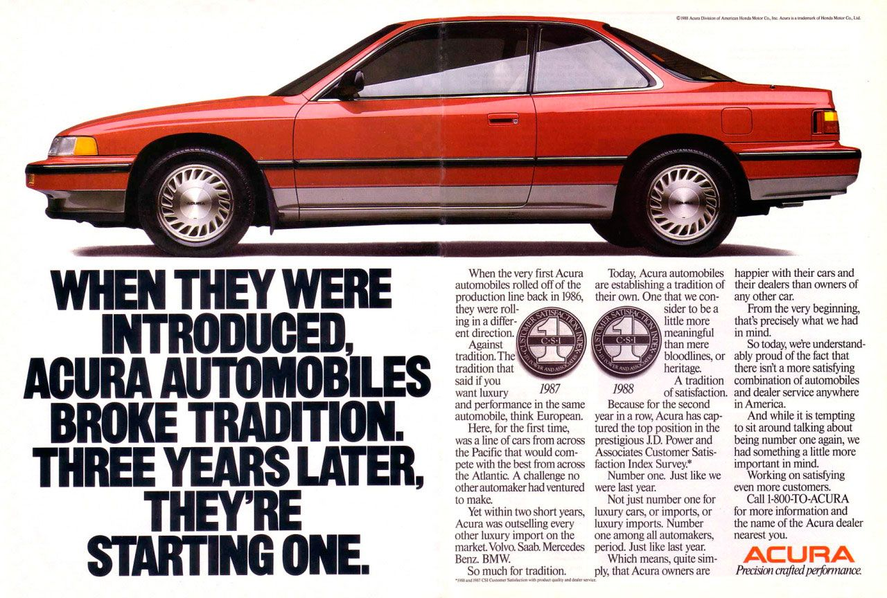 When they were introduced, Acura automobiles broke tradition. Three years later, they're starting one.