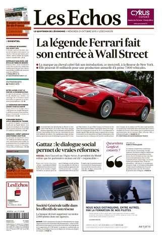 Les Echos du Mercredi 21 Octobre 2015