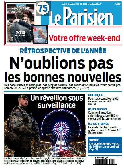 Le Parisien du Jeudi 31 décembre 2015