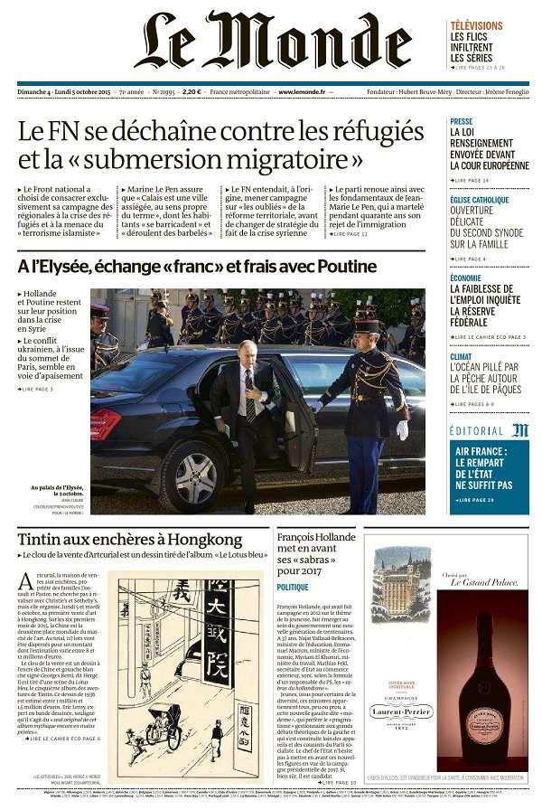 Le Monde et Supplément du Dimanche 4 et Lundi 5 Octobre 2015