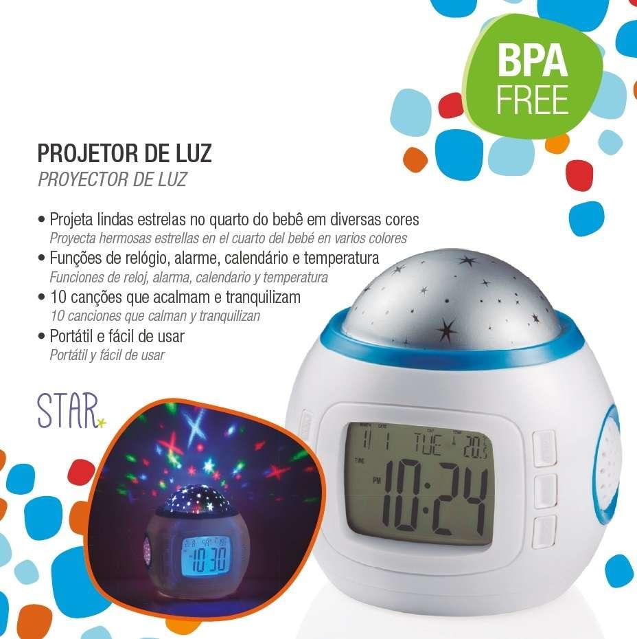 Relogio temperatura musical Projetor