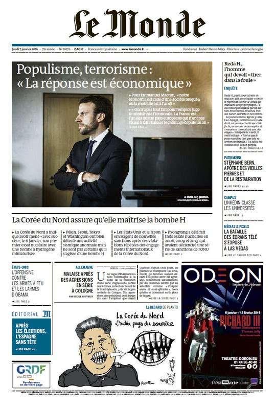 Le Monde de Jeudi 7 Janvier 2016