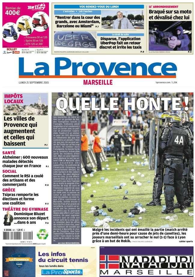 La Provence Marseille du lundi 21 septembre 2015