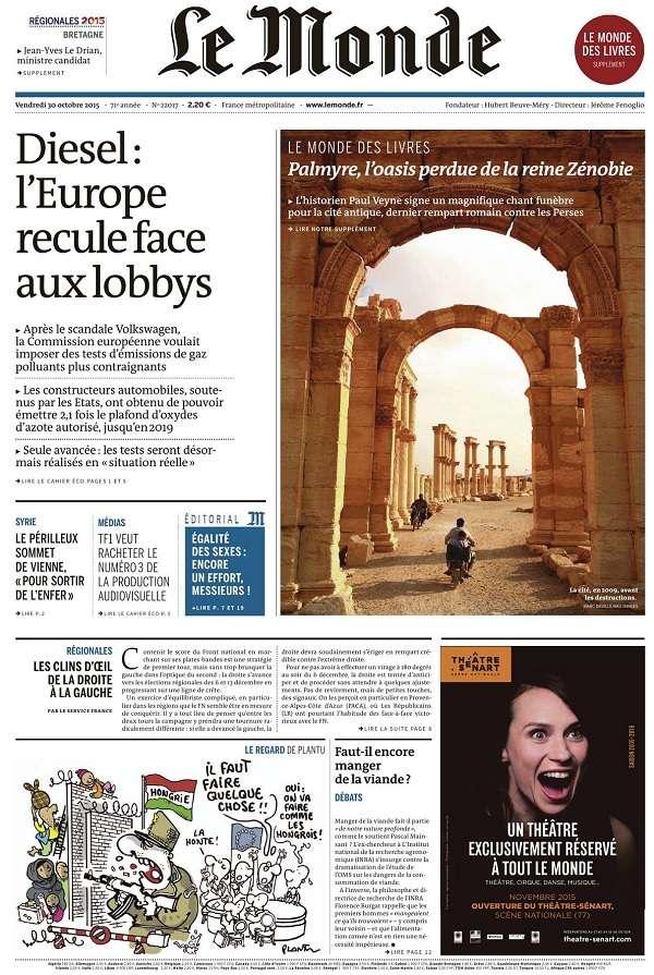 Le Monde + 3 suppléments du vendredi 30 octobre 2015