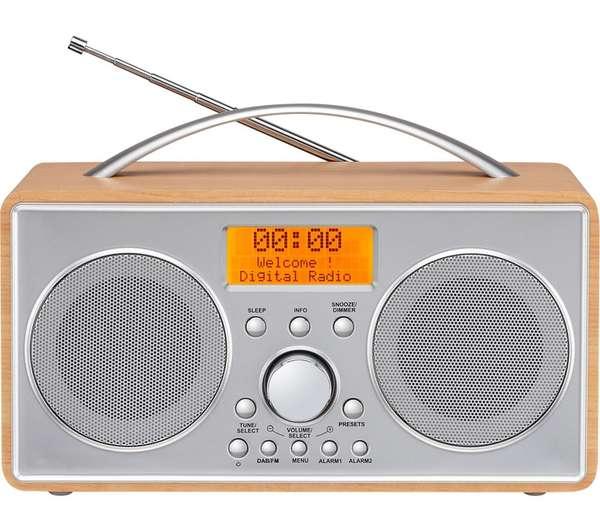 logik wooden retro style portable dab fm digital radio dual alarm clock. Black Bedroom Furniture Sets. Home Design Ideas