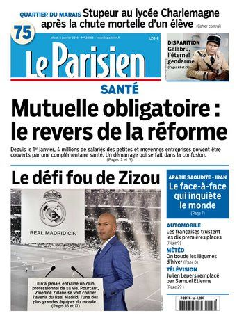 Le Parisien + Journal de Paris du Mardi 5 Janvier 2016